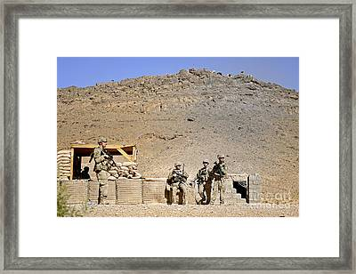 Soldiers Wait For Afghan National Framed Print