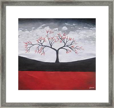 Solitary Tree-oil Painting Framed Print by Rejeena Niaz