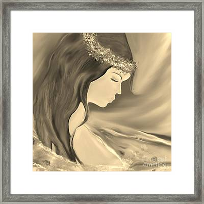 Framed Print featuring the drawing Solitude     Black And White by Lori  Lovetere