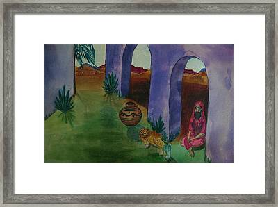 Solitude In The Desert Framed Print by Judy Via-Wolff