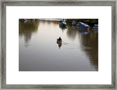 Framed Print featuring the photograph Solo Rowing by Maj Seda