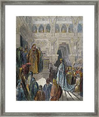 Solomon Receiving Sheba Framed Print by Granger