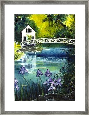 Somesville Bridge Reflections Framed Print by Gloria Avner
