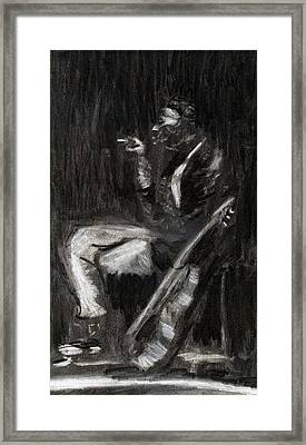 Framed Print featuring the drawing Son House In Charcoal by Denny Morreale