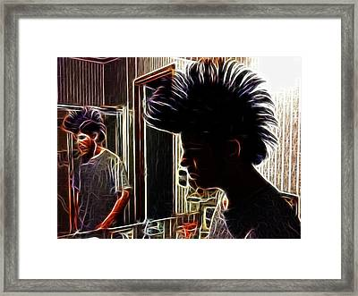 Son With Mohawk Framed Print by Lisa Stanley