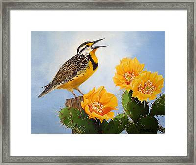 Songs Of The Meadowlark Framed Print by Donna Francis