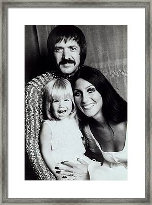 Sonny & Cher With Daughter Chastity Framed Print
