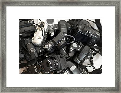 Sony Camera Stack Framed Print by Michael Wilcox