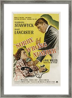 Sorry, Wrong Number, Barbara Stanwyck Framed Print by Everett