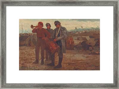Sounding Reveille Framed Print by Winslow Homer
