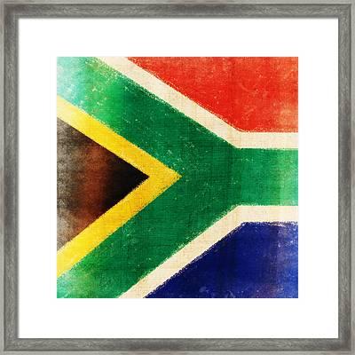 South Africa Flag Framed Print by Setsiri Silapasuwanchai