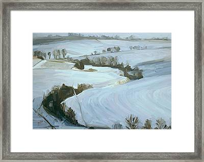 South Limburg Covered With Snow Framed Print by Nop Briex