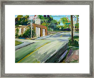 South Main Street Train Crossing Framed Print