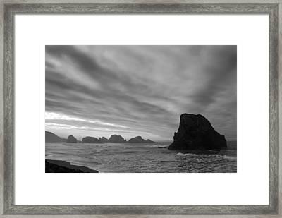 South Oregon Coast Black And White Framed Print