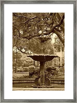 Southern Fountain II In Sepia Framed Print