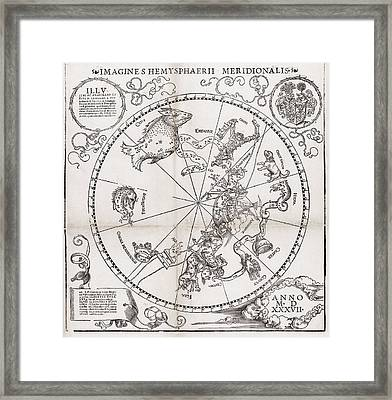 Southern Hemisphere Star Chart, 1537 Framed Print by Middle Temple Library