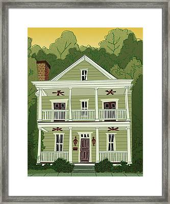 Framed Print featuring the digital art Southern Home 2 by John Gibbs