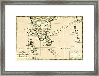 Southern India And Ceylon Framed Print by Guillaume Raynal