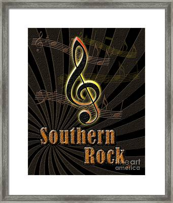 Southern Rock Music Poster Framed Print by Linda Seacord
