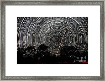 Southern Sky Star Trails And Aircraft Framed Print by Philip Hart