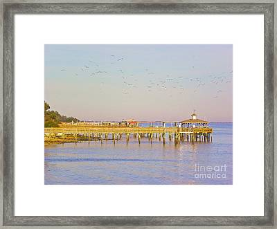 Framed Print featuring the photograph Southport Piers by Eve Spring