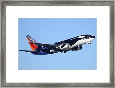Southwest 737-7h4 N713sw Shamu Phoenix Sky Harbor Arizona December 23 2011 Framed Print by Brian Lockett