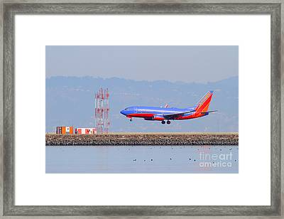 Southwest Airlines Jet Airplane At San Francisco International Airport Sfo . 7d12089 Framed Print