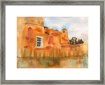 Framed Print featuring the painting Southwest Walled Monastery by Sharon Mick