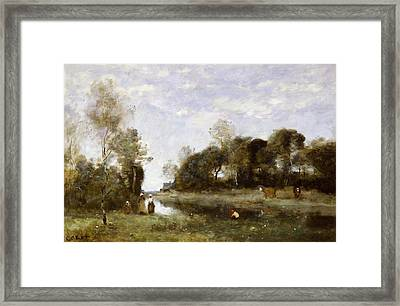 Souvenir Of The Bresle At Incheville  Framed Print by Jean Baptiste Camille Corot