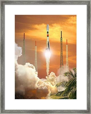 Soyuz-2 Rocket Launch, Artwork Framed Print