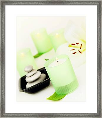 Spa Candle And Stones Framed Print
