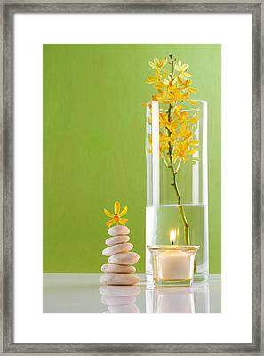 Spa Concepts With Green Background Framed Print