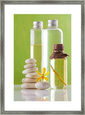 Spa Oil Bottles Framed Print by Atiketta Sangasaeng