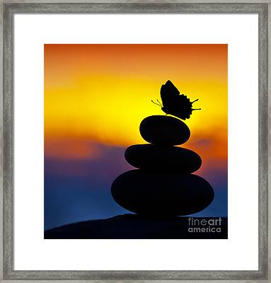 Spa Stones Balance Framed Print by Anna Om