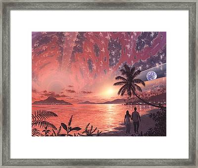Space Colony Holiday Islands, Artwork Framed Print