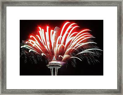 Space Needle Fireworks Framed Print by Benjamin Yeager