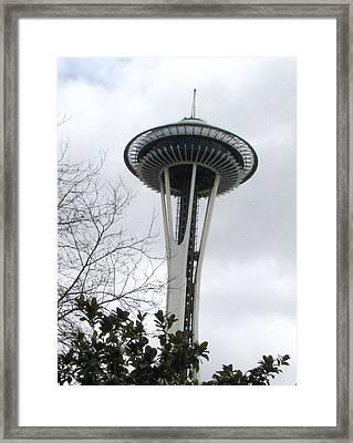 Space Needle In Seattle Framed Print by Judyann Matthews