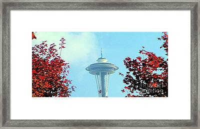 Space Needle In The Fall Framed Print