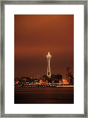Space Needle Morning Framed Print