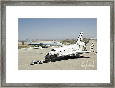 Space Shuttle Atlantis Is Towed Framed Print by Stocktrek Images