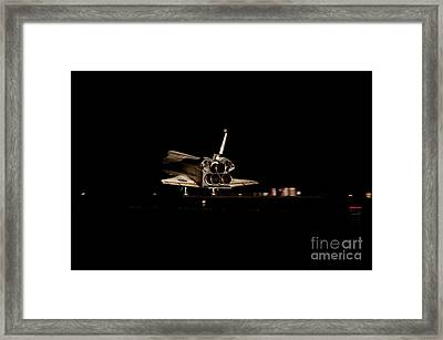 Space Shuttle Atlantis Landing At Night Framed Print by NASA/Science Source