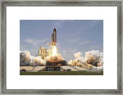 Space Shuttle Atlantis Lifting Framed Print by Stocktrek Images