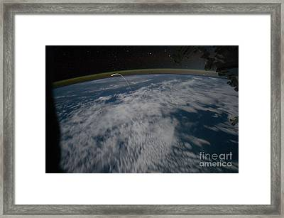 Space Shuttle Atlantis, Seen From I.s.s Framed Print by NASA/Science Source