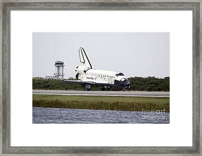 Space Shuttle Discovery On The Runway Framed Print