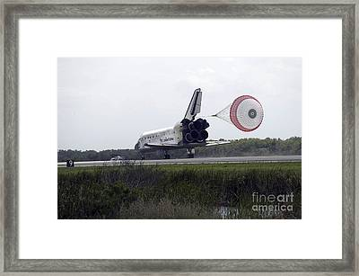 Space Shuttle Discoverys Drag Chute Framed Print by Stocktrek Images