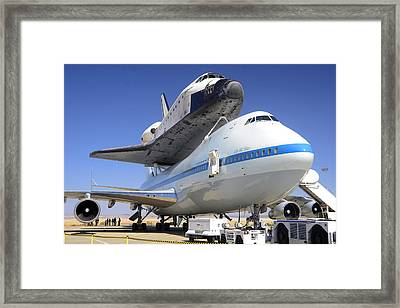 Space Shuttle Endeavour On Static Display At Nasa Dryden Frc Right Front Close September 20 2012 Framed Print by Brian Lockett