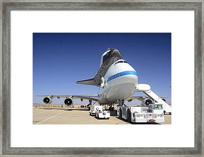 Space Shuttle Endeavour On Static Display At Nasa Dryden Frc Right Front September 20 2012 Framed Print by Brian Lockett