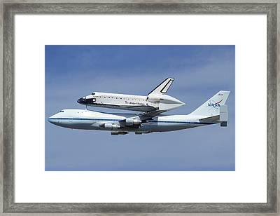 Space Shuttle Endeavour Over Lax Profile September 21 2012 Framed Print by Brian Lockett