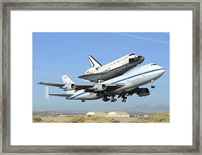 Space Shuttle Endeavour Taking Off From Edwards Afb Front September 21 2012 Framed Print by Brian Lockett