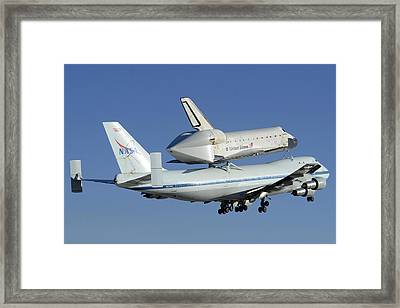 Space Shuttle Endeavour Taking Off From Edwards Afb September 21 2012 Framed Print by Brian Lockett